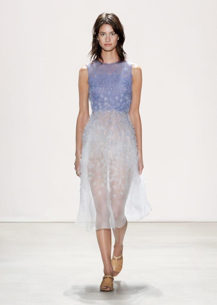 JENNY PACKHAM BLUE AND WHITE SHEER DRESS