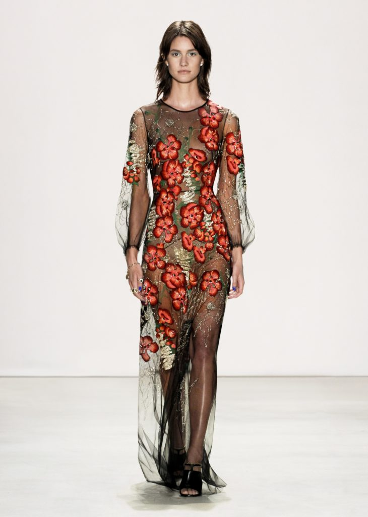 JENNY PACKHAM SHEER BLACK DRESS WITH RED FLOWERS