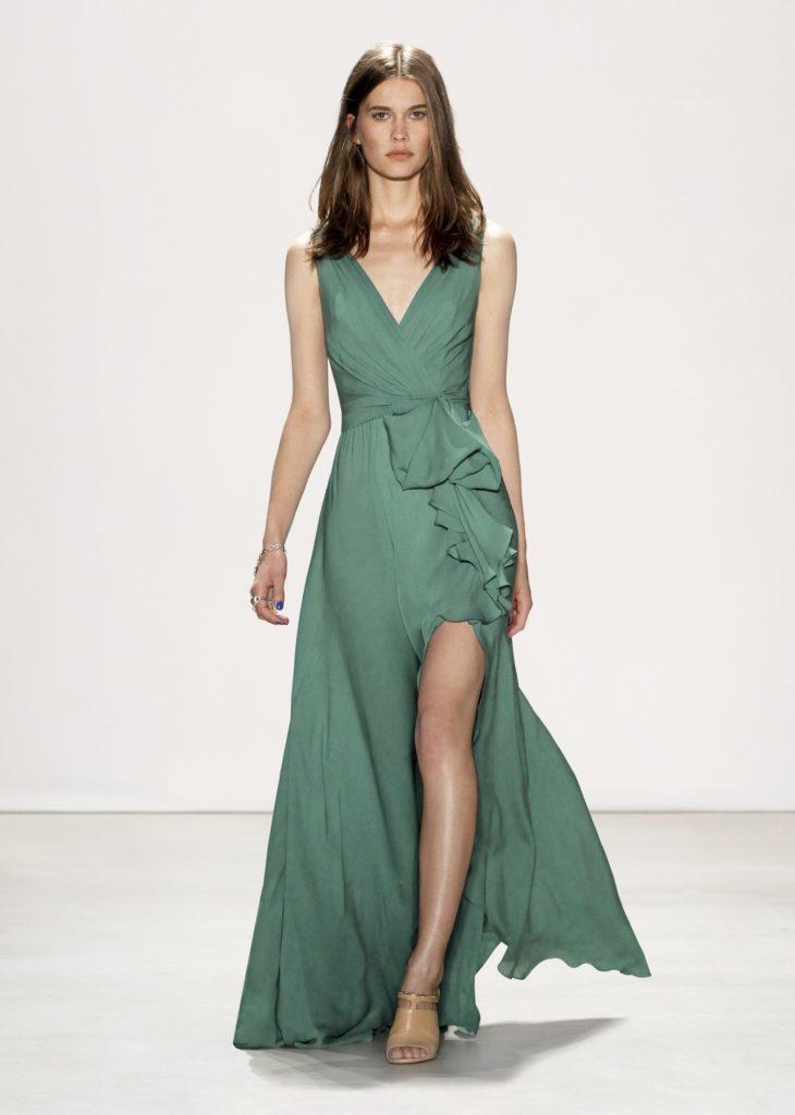 JENNY PACKHAM GREEN LONG DRESS THIGH HIGH SLIT RUFFLE