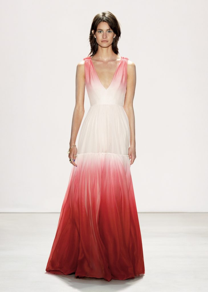 JENNY PACKHAM RED AND WHITE OMBRE LONG DRESS RASPBERRY POMEGRANATE COLOR