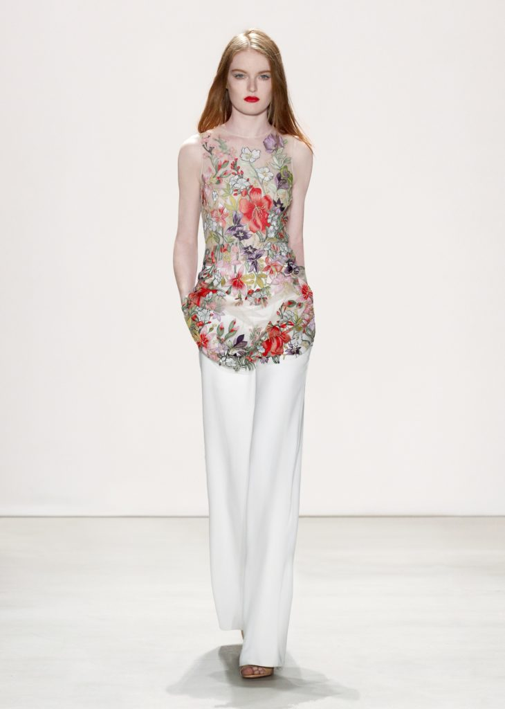 JENNY PACKHAM PANT SUIT WHITE PANT SHEER BRIGHT FLORAL SLEEVELESS TOP