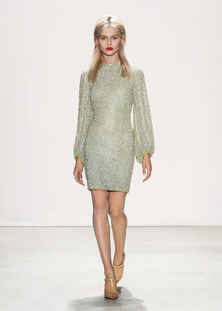 JENNY PACKHAM NEUTRAL GREEN SHORT DRESS LONG SLEEVES