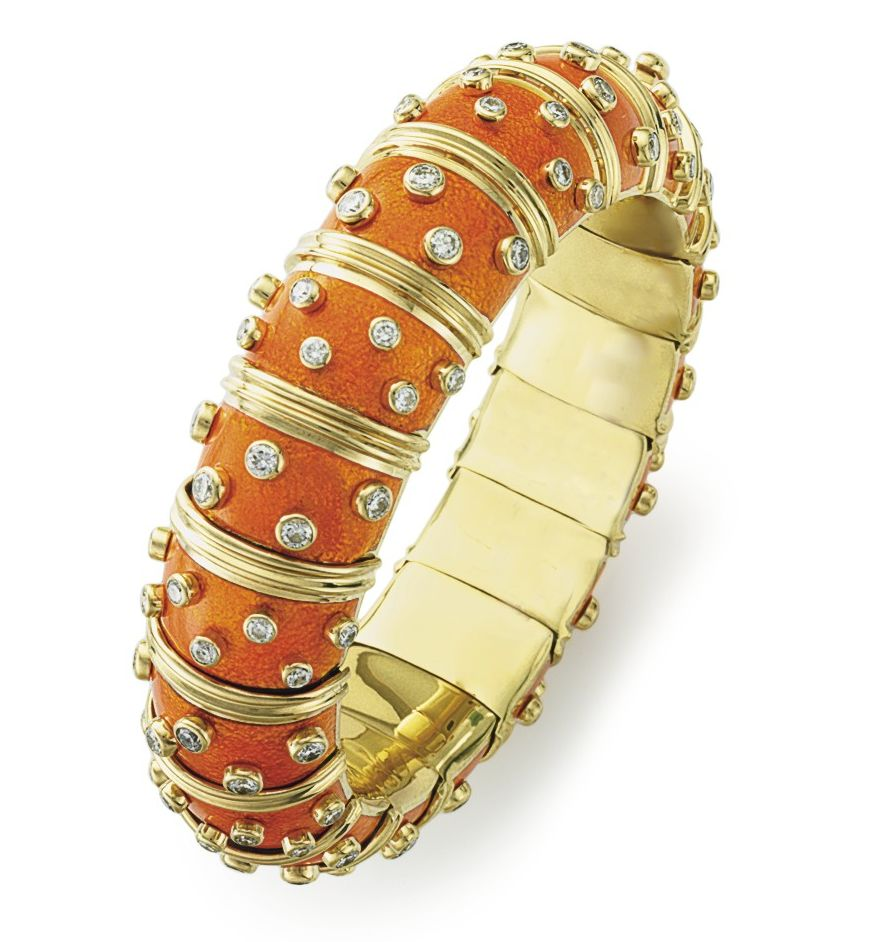 SCLUMBERGER ORANGE ENAMEL GOLD DIAMONDS BANGLE