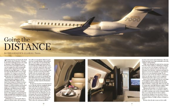 Bombardier Global 7000 aviation spread