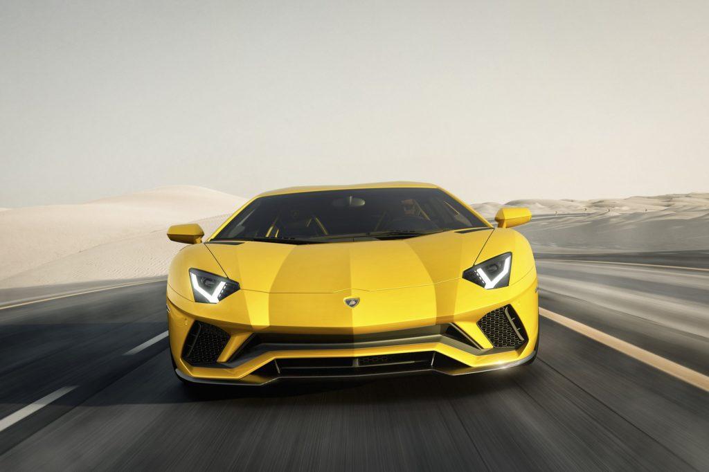 Lamborghini Aventador S driving rendering front