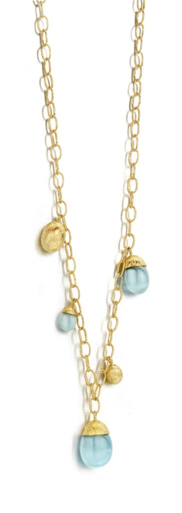 nanis dancing in the rain pendant necklace aquamarine gold