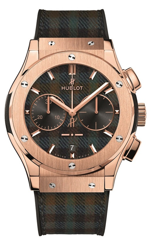 "HUBLOT: Classic Fusion Chronograph Italia Independent ""Prince de Galles"" (Prince of Wales) Tartan & Satin-Finished and Polished 18kt King Gold"