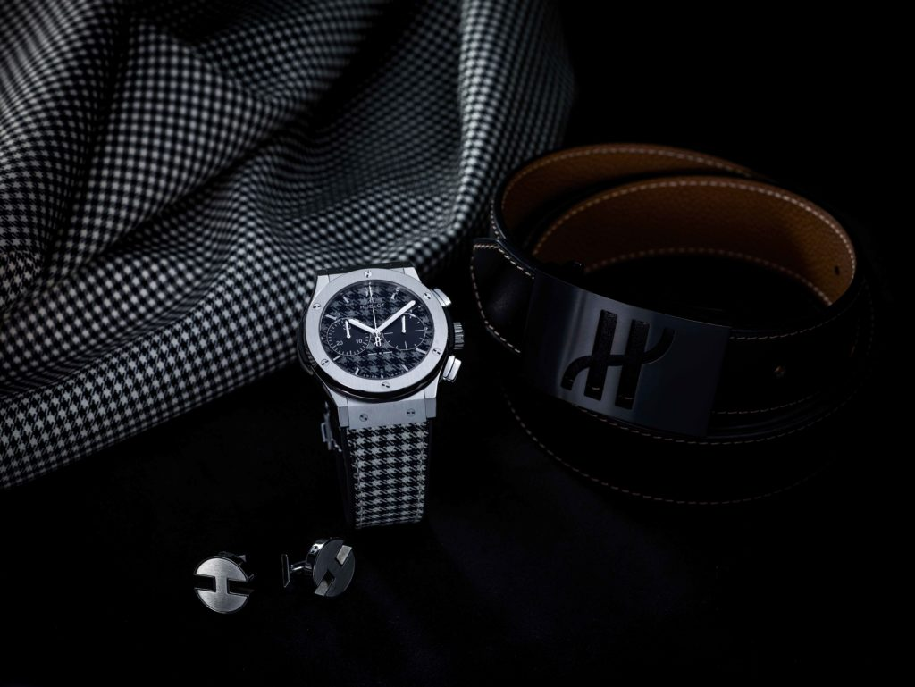 HUIBLOT TIMEPIECE LIFESTYLE IMAGE WITH BELT AND CUFFLINKS