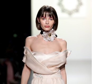 CUIXU PEONY CHOKER FEATURED DURING THE LANYU FASHION SHOW LANYU PINK SILK DRESS