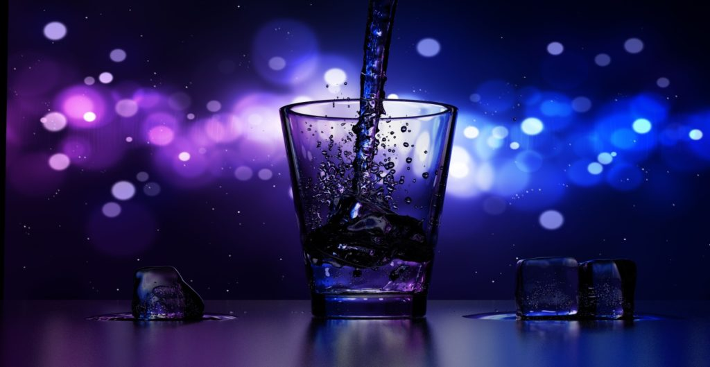 purple and blue cocktail glass