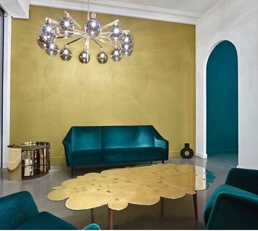 DESIGN DIALOGUES GATE 5 GALLRY GREEN VELVET SOFA