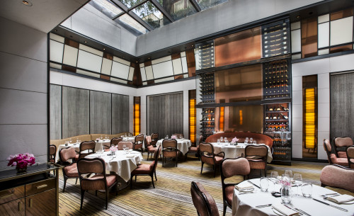 Details of the main dining room with the windowed ceiling at Jean Georges' The Mark restaurant in The Mark hotel in New York City