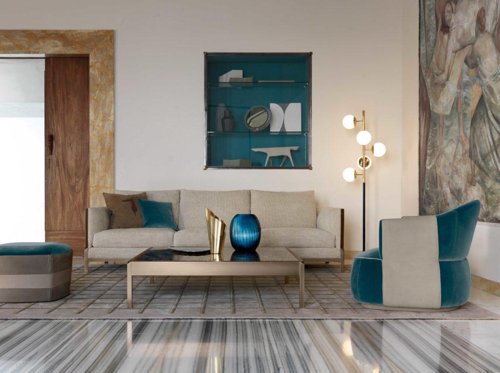 Trussardi Band sofa, Larzia armchair, Pouf 414 ottoman