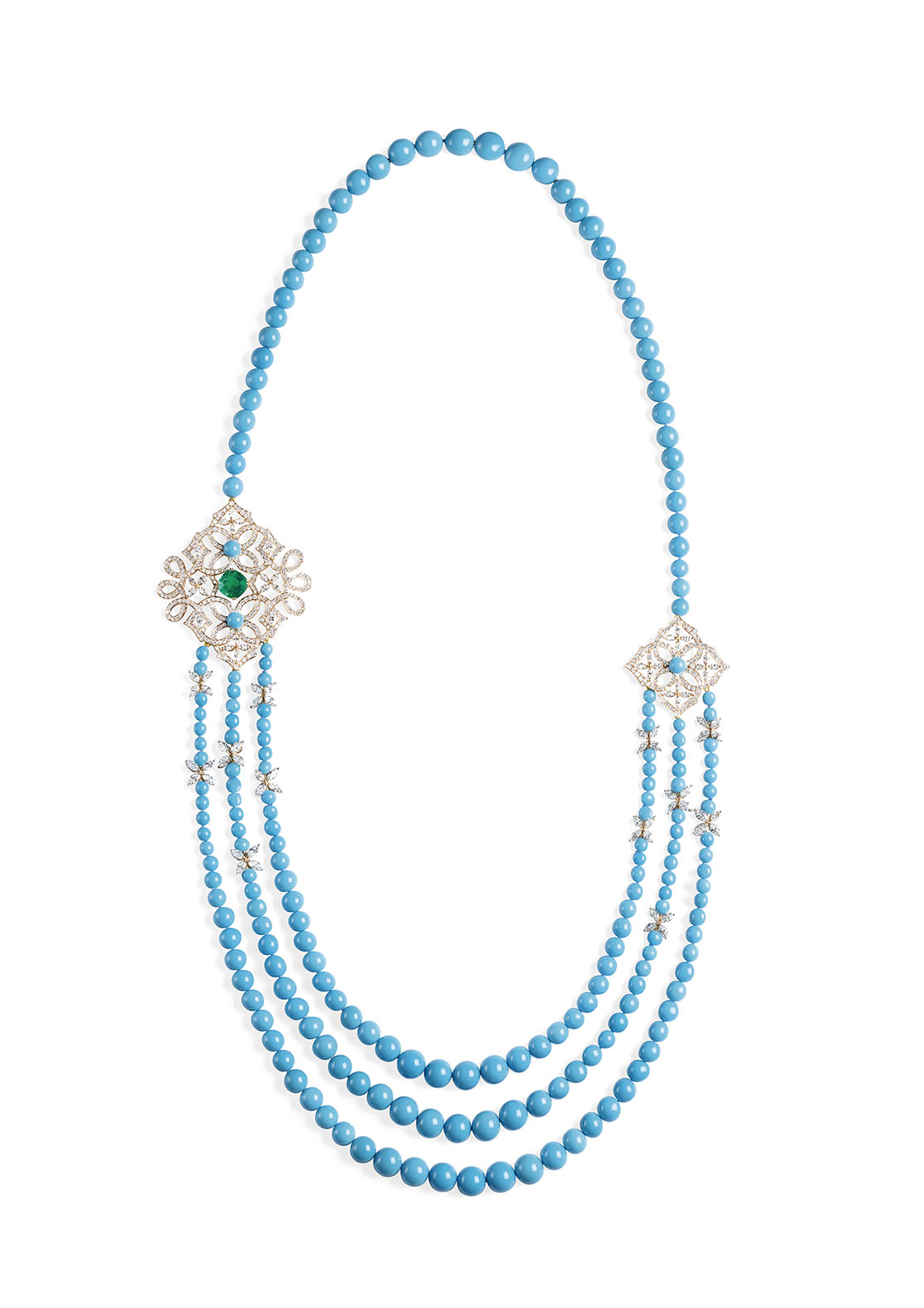 Secrets and Light Collection by Piaget Necklace in 18K pink gold set with 1 cushion-cut emerald (approx. 4.18 cts), 84 marquise-cut diamonds (approx. 9.30 cts), 208 turquoise beads (approx. 16.22 cts) and 430 brilliant-cut diamonds (approx. 7.44 cts)