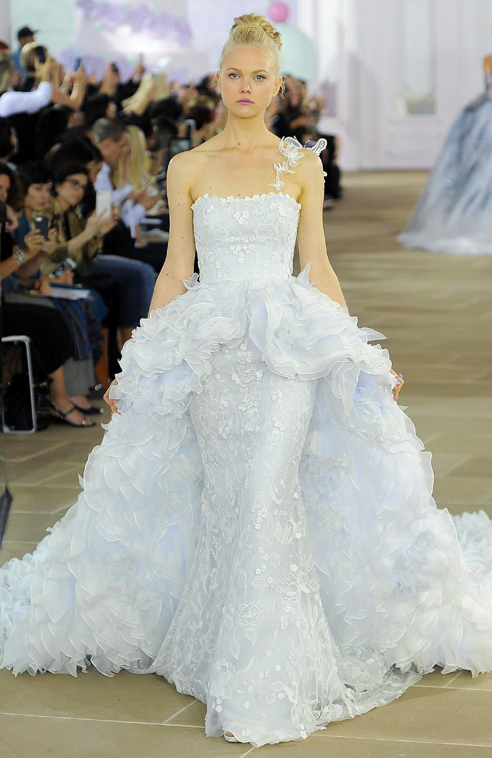 N° 27 FLEUR Strapless powder blue column gown with embroidered overlay and detachable multi-ruffle Silk Organza overskirt. Ines Di Santo FW 2017 Fleur