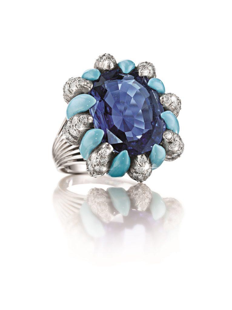 Verdura Raja Ring Ceylon Sapphire & Turquoise
