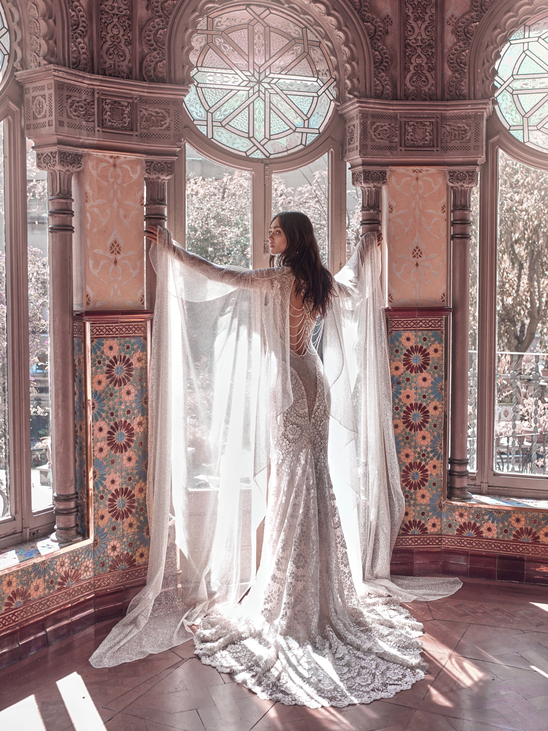 Rayne wedding gown and Stardust cape galia Lahav 2018