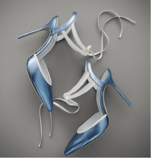 jessica bedard bridal shoe blue white
