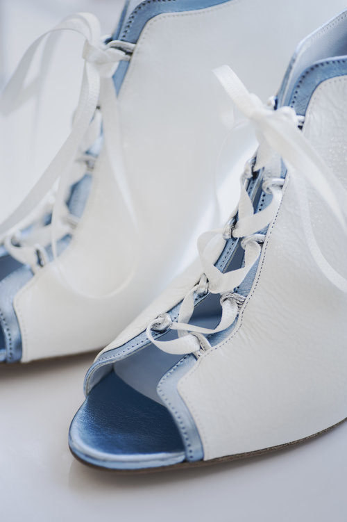 JESSICA BEDARD BRIDAL SHOE BLUE AND WHITE