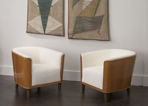 HOSTLER BURROWS: Oscar Nilsson Pair of chairs for Bodafors, Sweden ca.1935; Mahogany, Upholstery