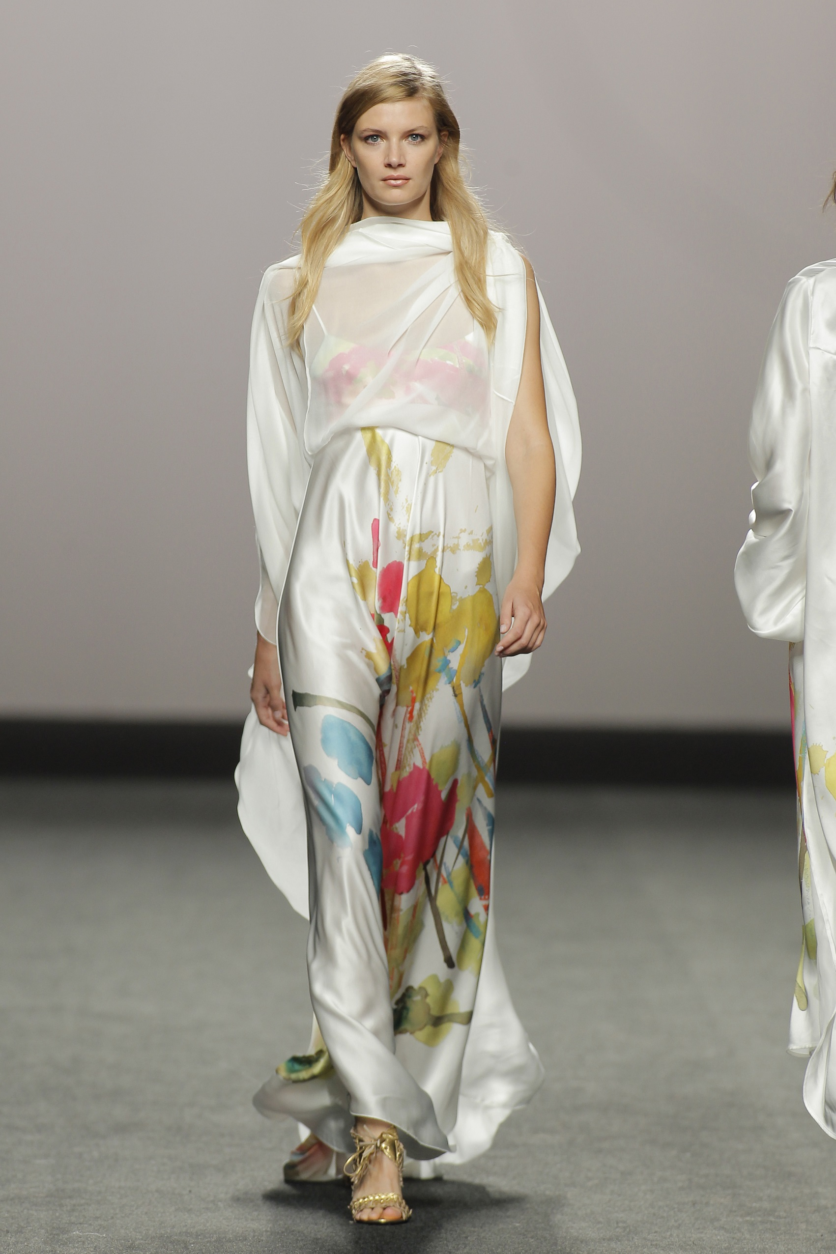 Marcos Luengo: Long White Slip Dress & Floral Print