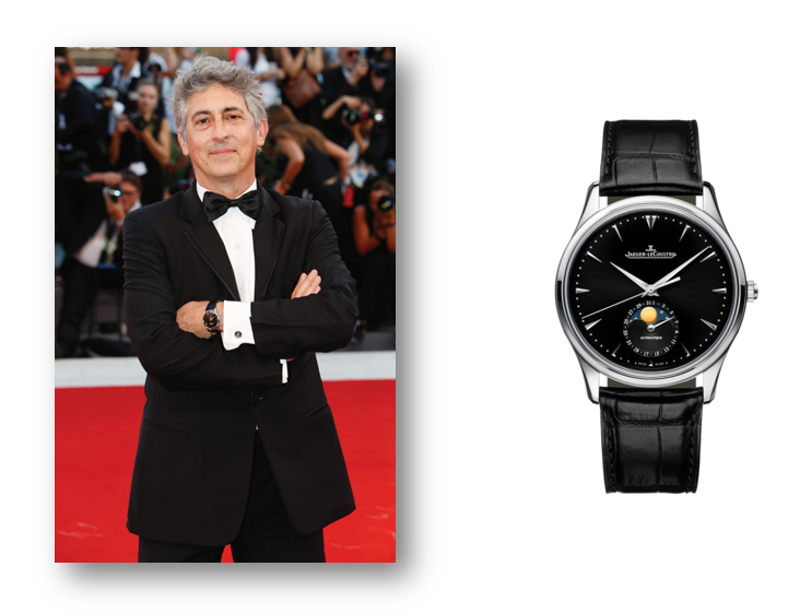 Alexander Payne Wearing Jaeger-LeCoultre Master Ultra Thin Moon Timepiece In Steel