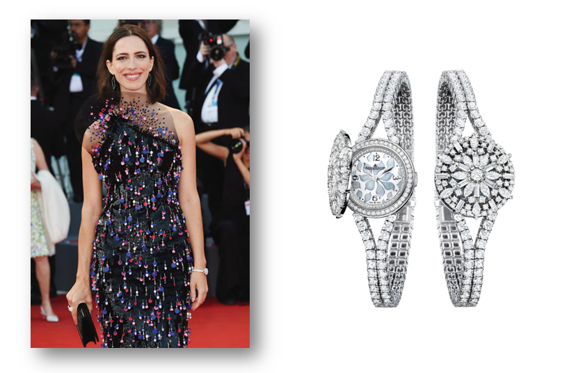 Rebecca Hall Wearing Armani Prive and Jaeger-LeCoultre Rendez-Vous Ivy Secret