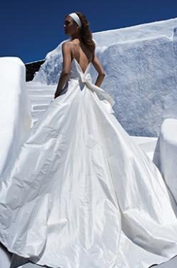 JUSTIN ALEXANDER: Silk Dupion A-Line with Deep V-Back Neckline