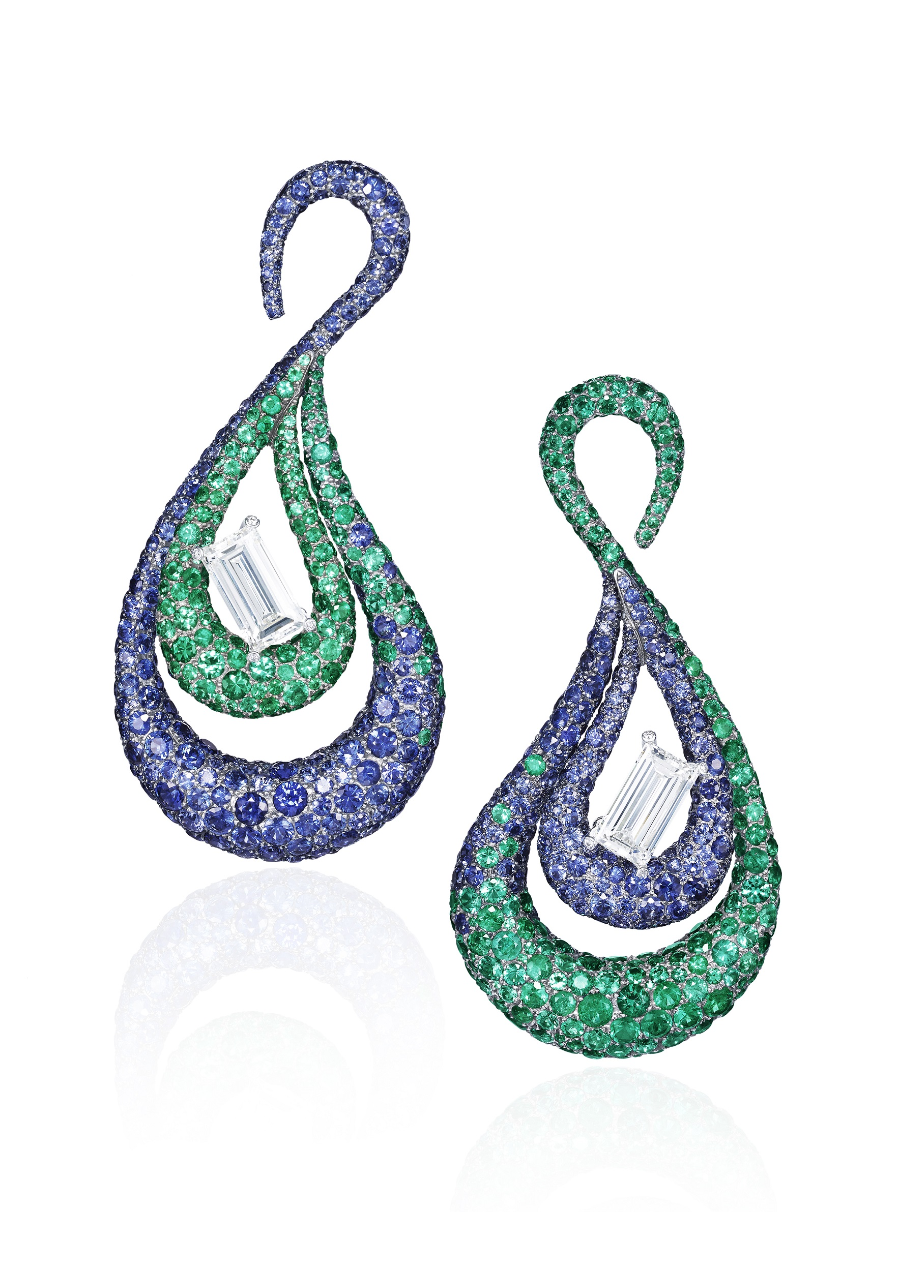 de Grisogono sapphire diamond and emerald earrings