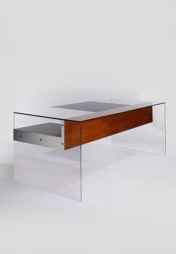 DEMISCH DANANT: Antoine Philippon and Jacqueline Lecoq Desk, 1960 Glass, palissander