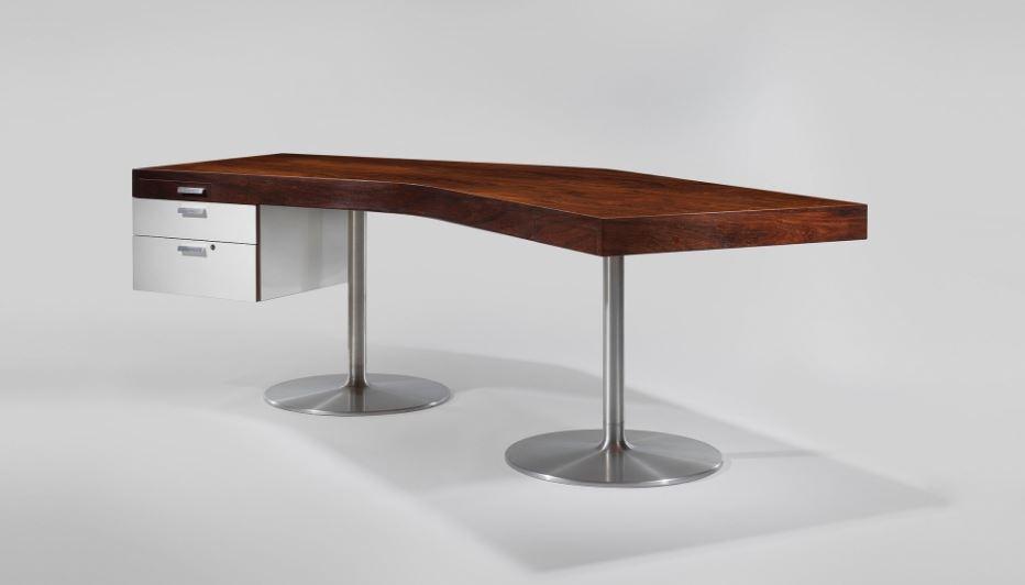 DEMISCH DANANT: Joseph-André Motte Desk, 1965 Aluminum legs, Formica, rosewood top