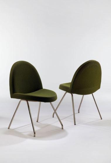 DEMISCH DANANT: Joseph-André Motte Set of 771 Chairs, 1958 Enameled legs, upholstery