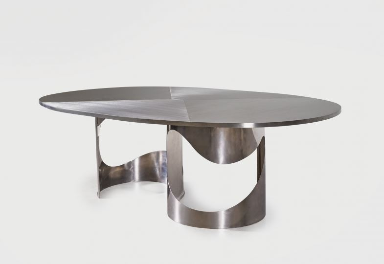 DEMISCH DANANT:  Maria Pergay Saturn Table, 1968 Stainless steel