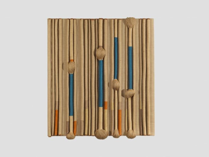 DEMISCH DANANT: Sheila Hicks Panel from an Architectural Commission (Textile Fresco), c. 1969 Panel formed from twisted skeins of linen, silk, cotton