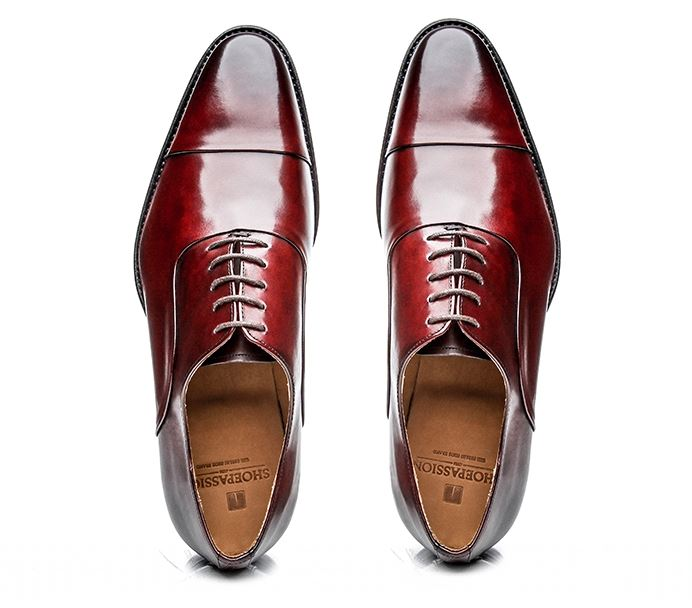 No. 5228 -  Goodyear-welted Oxfords in Bordeaux:  Handcrafted   In Spain shoepassion