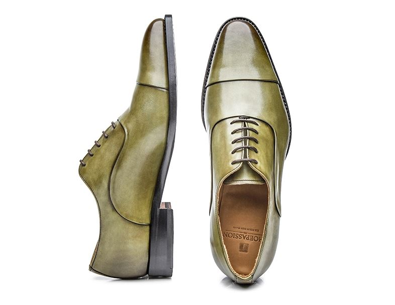 No. 5229 - Vegetable Tanned Green Cap-Toe Oxfords: Handcrafted In Spain  shoepassion