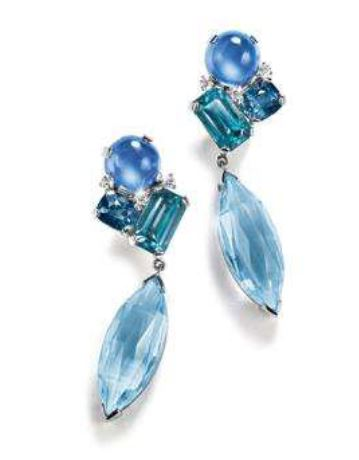 "HERZ-BELPERRON: PAIR OF PLATINUM, SAPPHIRE, ZIRCON, SPINEL, AQUAMARINE AND DIAMOND ""MÉLANGE"" PENDANT EARCLIPS"
