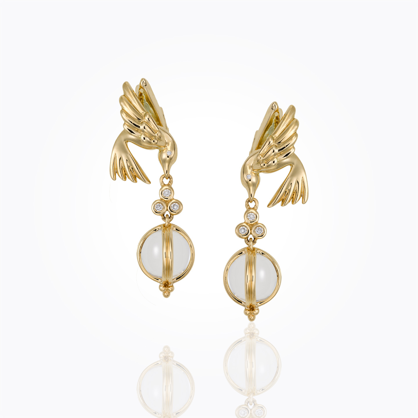Temple St. Clair Bird Earrings with Crystal Drop