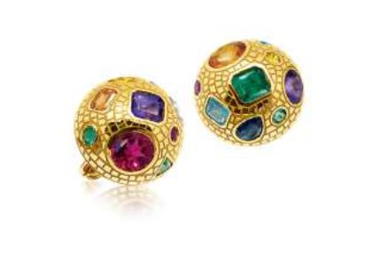 "VERDURA: GOLD AND MULTI COLORED STONE ""MOSAIC"" EARCLIPS"
