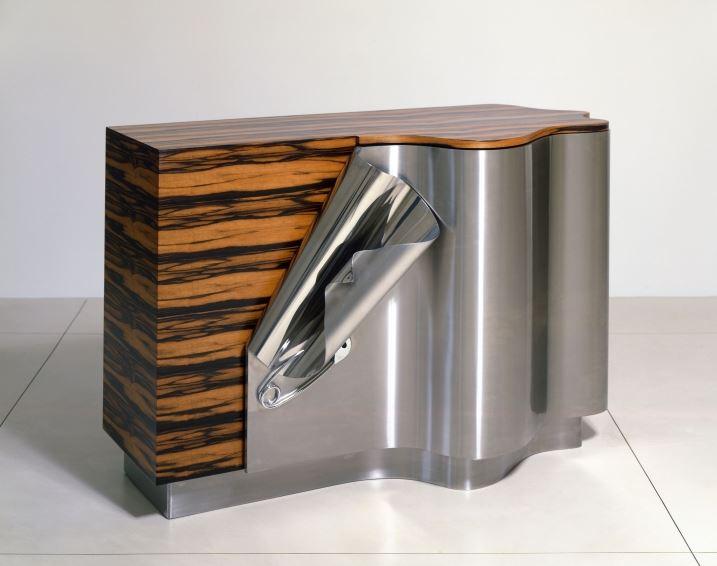 DEMISCH DANANT: Maria Pergay Drape Cabinet B, 2005 Stainless steel, ebony macassar, palm wood