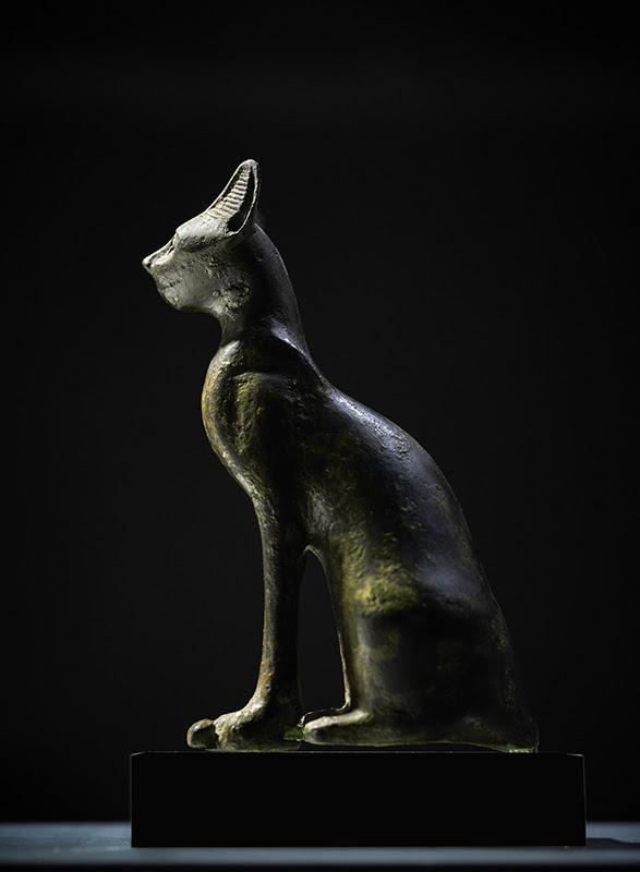 AXEL VERVOODRT: BASTET, EGYPT, LATE PERIOD, XXVIth DYNASTY, 664-525 B.C., BRONZE