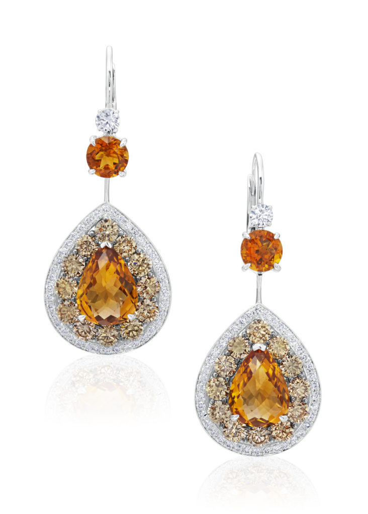 STEPHAN SILVER: CITRINE, WHITE & CHAMPAGNE DIAMOND EARRINGS