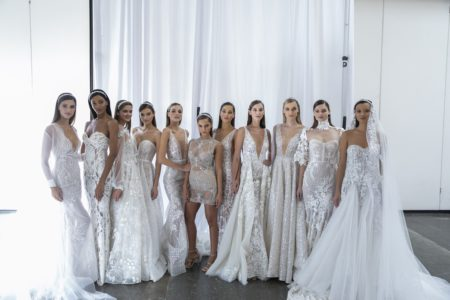 Berta Fall 2019 Runway Show NEW YORK, Oct 5: These Images are from the Berta 2019 Fall ruway show at Industria Studio during New York Bridal Fashion Week on October, 5, 2018, (Photo by Collin Pierson )