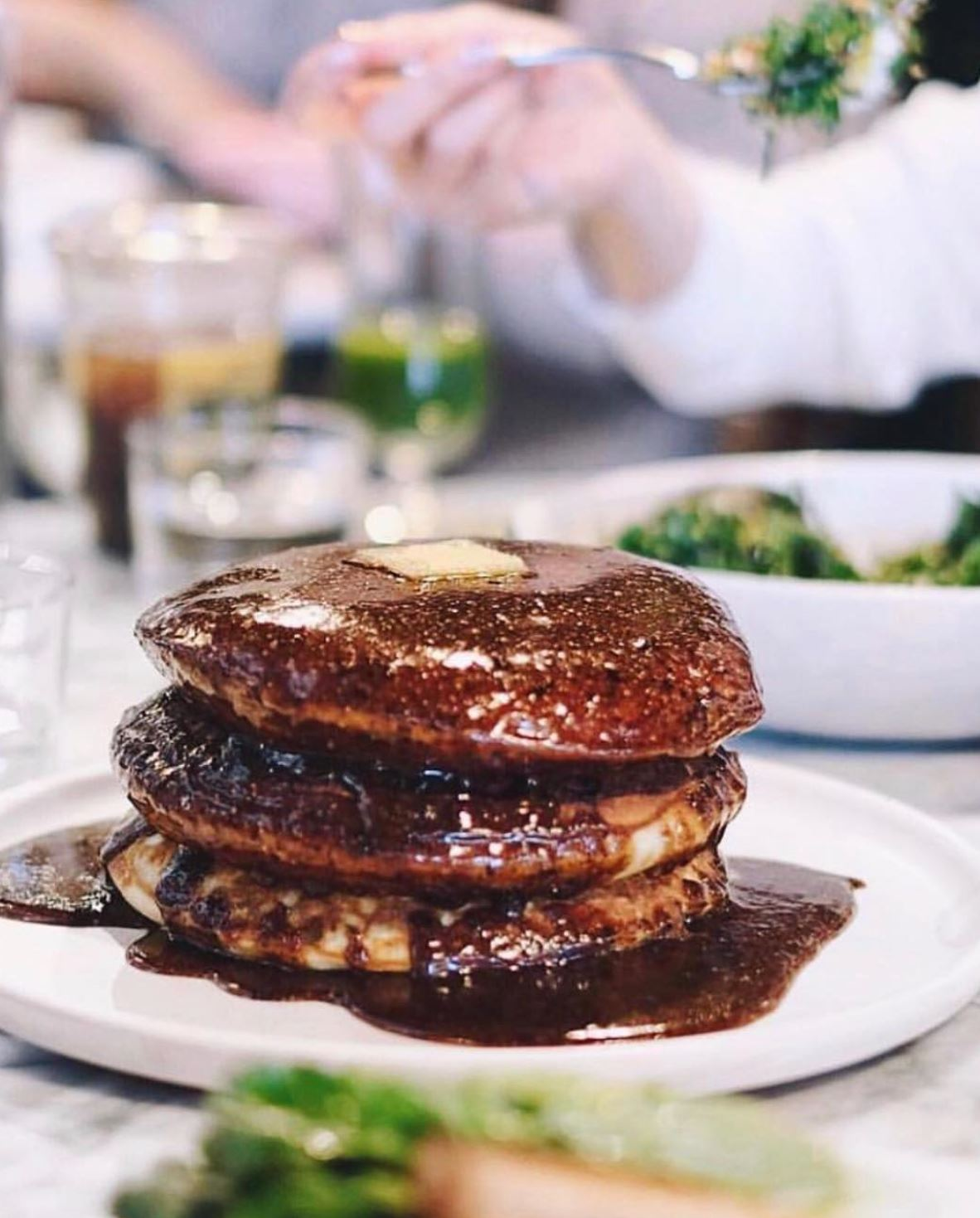 SUNDAY IN BROOKLYN: BRUNCH - MALTED PANCAKES, HAZELNUT MAPLE PRALINE, BROWN BUTTER