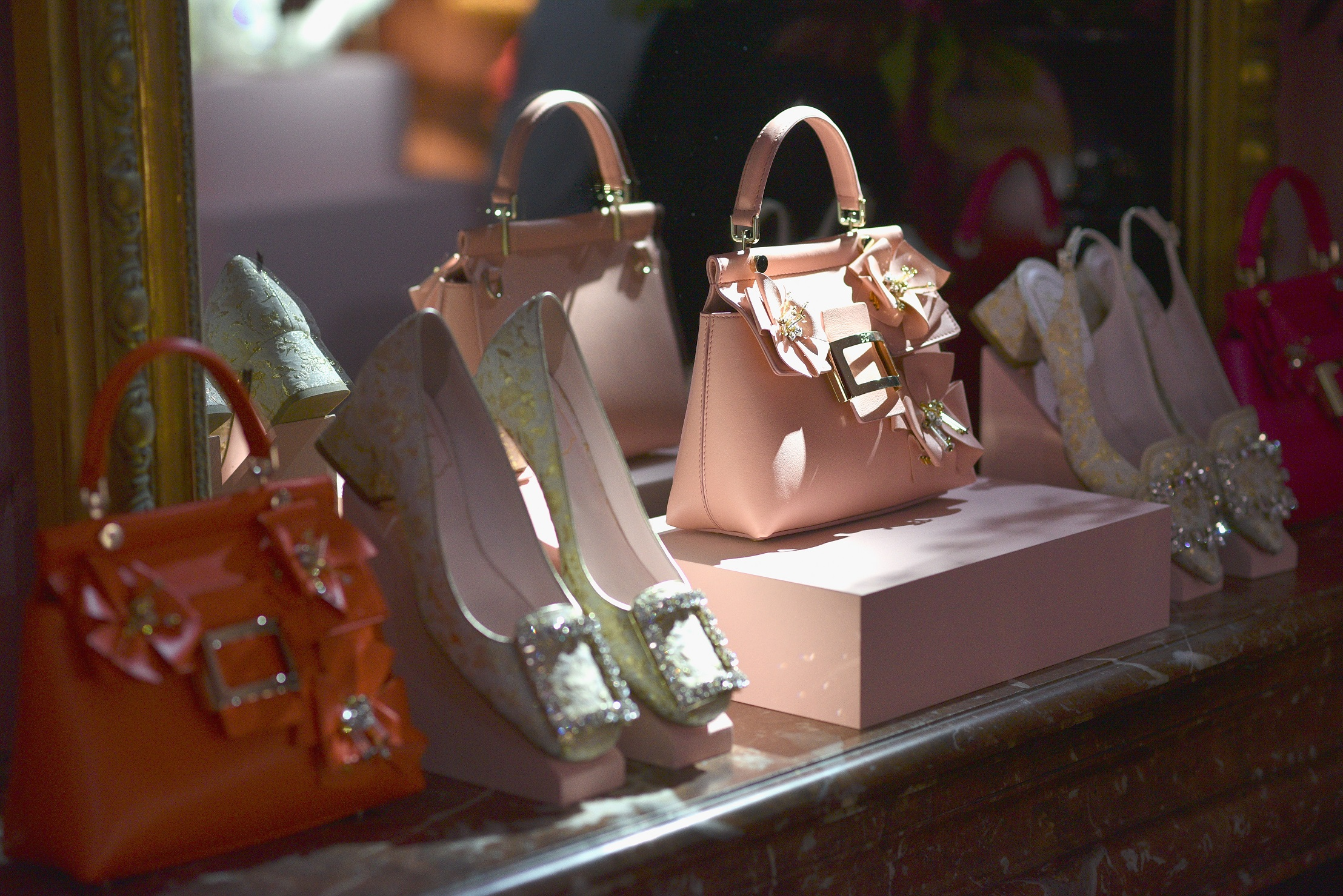 PARIS, FRANCE - SEPTEMBER 27: General atmosphere (products details) at the Roger Vivier Presentation Spring/Summer 2019 during Paris Fashion Week on September 27, 2018 in Paris, France. (Photo by Francois Durand/Getty Images For Roger Vivier)