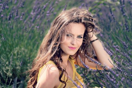 Girl Mov Beauty Flowers Lavender Nature