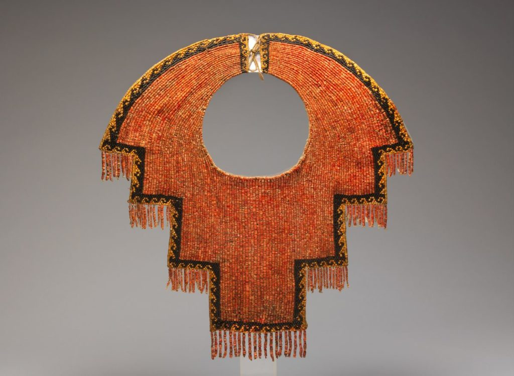 THE METROPOLITAN MUSEUM OF ART: CHIMU COLLAR; 12th–14th Century; Spondylus Shell & Black Stone Beads, Cotton