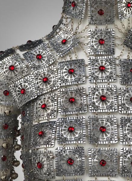 THE METROPOLITAN MUSEUM ART: YASHMAK Designer: Shaun Leane; Design House: Alexander McQueen; Aluminum, Swarovski Crystal