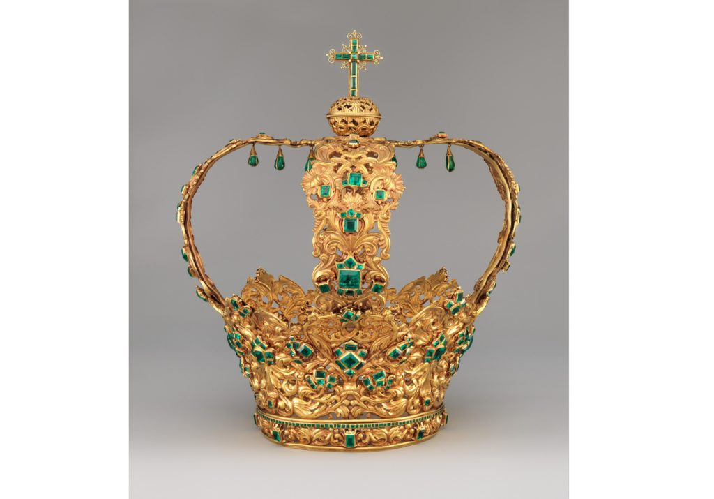 Crown Of The Virgin Of The Immaculate Conception, known as the Crown of the Andes from Columbia, South America; Ca. 1660 (diadem) and ca. 1770 (arches); Colombian; Popayan; Gold, repoussé and chased; emeralds