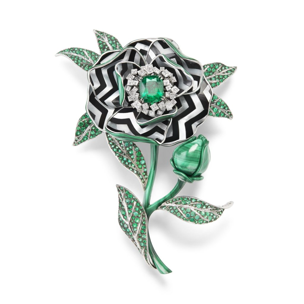 BOUCHERON: Fleur Graphique Brooch From Nature Triomphante High Jewelry Collection Set With A 5,65 ct Colombian Cushion Emerald, Malachite, Diamonds And Emeralds, With Black Lacquer, On White Gold